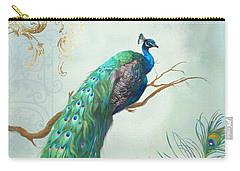 Regal Peacock 1 On Tree Branch W Feathers Gold Leaf Carry-all Pouch by Audrey Jeanne Roberts