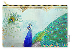 Regal Peacock 2 W Feather N Gold Leaf French Style Carry-all Pouch