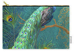 Carry-all Pouch featuring the painting Regal Peacock 3 Midnight by Audrey Jeanne Roberts