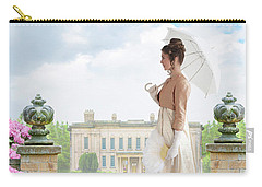 Regency Woman In The Grounds Of A Historic Mansion Carry-all Pouch