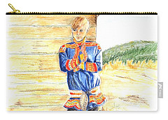 Reindeer Boy -- Portrait Of Young Laplander Man Carry-all Pouch