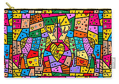 Carry-all Pouch featuring the digital art Reindeer Popart By Nico Bielow by Nico Bielow
