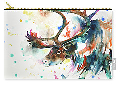 Carry-all Pouch featuring the painting Reindeer by Zaira Dzhaubaeva