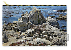 Carry-all Pouch featuring the photograph Remains Of Ancient Rocks At Carmel Point by Susan Wiedmann