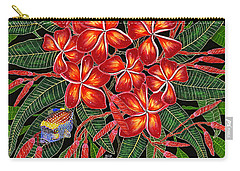 Tropical Fish Plumerias Carry-all Pouch by Debbie Chamberlin