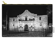 Remembering The Alamo - Black And White Carry-all Pouch by Stephen Stookey