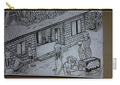 Carry-all Pouch featuring the drawing Renovating After Bloody Civil War - Sierra Leone by Mudiama Kammoh