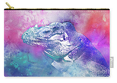 Carry-all Pouch featuring the mixed media Reptile Profile by Jutta Maria Pusl