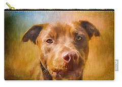 Rescued Chocolate Lab Portrait Carry-all Pouch