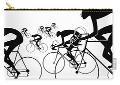 Carry-all Pouch featuring the photograph Retro Bicycle Silhouettes 1986 by Padre Art