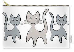 Retro Cat Graphic In Grays Carry-all Pouch