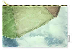 Carry-all Pouch featuring the photograph Retro Feel Beach Umbrella Blue Sky by Marianne Campolongo