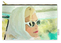 Carry-all Pouch featuring the digital art Retro Girl - Road Trip No.1 by Serge Averbukh