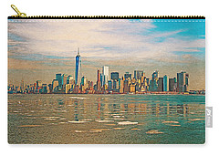 Carry-all Pouch featuring the digital art Retro Style Skyline Of New York City, United States by Anthony Murphy