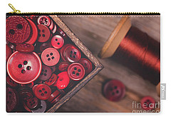 Retro Styled Red Buttons And Thread Carry-all Pouch