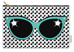 Retro Turquoise Cat Sunglasses Carry-all Pouch