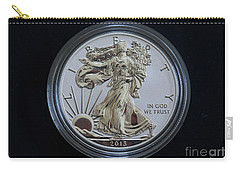 Carry-all Pouch featuring the digital art Reverse Proof Silver Eagle Dollar Coin by Randy Steele