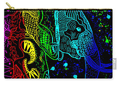 Rainbow Zentangle Elephant With Black Background Carry-all Pouch