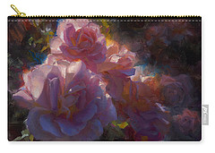Carry-all Pouch featuring the painting Rhapsody Roses - Flowers In The Garden Painting by Karen Whitworth