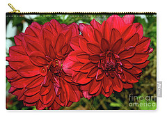 Carry-all Pouch featuring the photograph Rich Red Dahlias By Kaye Menner by Kaye Menner