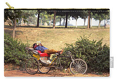 Carry-all Pouch featuring the photograph Rickshaw Rider Relaxing by Travel Pics
