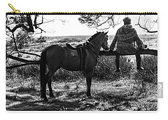Rider And Horse Taking Break Carry-all Pouch