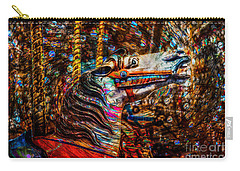 Carry-all Pouch featuring the photograph Riding A Carousel In My Colorful Dream by Michael Arend