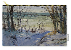 Carry-all Pouch featuring the painting Riley Beach December by Sandra Strohschein