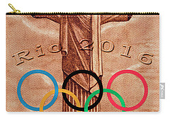 Carry-all Pouch featuring the painting Rio 2016 Christ The Redeemer Statue Artwork by Georgeta Blanaru
