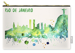 Rio De Janeiro Skyline Watercolor Poster - Cityscape Painting Artwork Carry-all Pouch