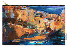 Carry-all Pouch featuring the painting Riomaggiore - Cinque Terre by Elise Palmigiani