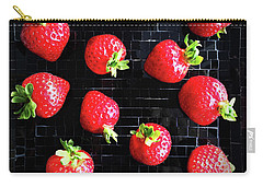 Ripe Strawberries On Back Plate Carry-all Pouch by GoodMood Art