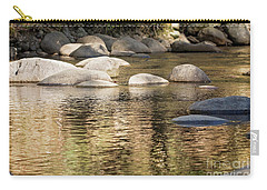 Carry-all Pouch featuring the photograph Ripples And Rocks by Linda Lees