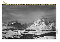 Rising Wolf Mountain- Winter - Black And White Carry-all Pouch