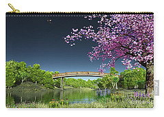 River Bridge Cherry Tree Blosson Carry-all Pouch by Walter Colvin