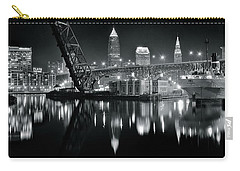 Carry-all Pouch featuring the photograph River Lights In Black And White by Frozen in Time Fine Art Photography