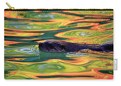 River Otter In Autumn Reflections Carry-all Pouch