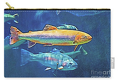 Carry-all Pouch featuring the digital art River Trout by Ray Shiu