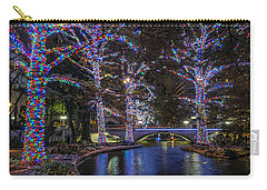 Carry-all Pouch featuring the photograph Riverwalk Christmas by Steven Sparks