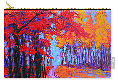 Carry-all Pouch featuring the painting Road Within - Enchanted Forest Series - Modern Impressionist Landscape Painting - Palette Knife by Patricia Awapara