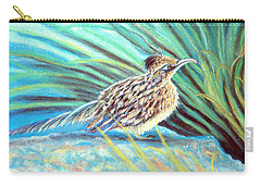 Carry-all Pouch featuring the pastel Roadrunner Fluffing Sold   Pastel by Antonia Citrino