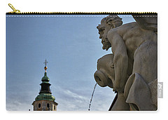 Carry-all Pouch featuring the photograph Robba Fountain - Ljubljana Slovenia by Stuart Litoff