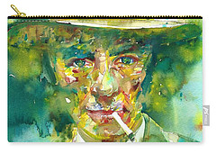 Carry-all Pouch featuring the painting Robert Oppenheimer - Watercolor Portrait.2 by Fabrizio Cassetta