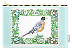 Carry-all Pouch featuring the drawing Robin In Spring by Lise Winne