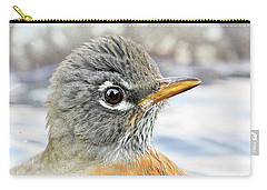 Carry-all Pouch featuring the photograph American Robin In The Bird Bath by Jennie Marie Schell