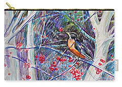 Robin In The Crab Apple Trees Sketch Carry-all Pouch