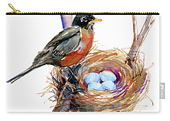 Robin With Nest Carry-all Pouch