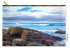 Carry-all Pouch featuring the photograph Rock And Wave by Perry Webster