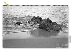 Rock And Waves In Albandeira Beach. Monochrome Carry-all Pouch by Angelo DeVal