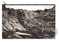 Carry-all Pouch featuring the photograph Rock - Sepia Detail by Rebecca Harman